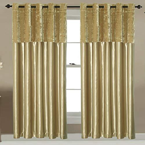FURZON Par de cortinas de terciopelo aplastado con ojales de seda sintética totalmente forradas en la parte superior, color gris, plateado, negro, dorado, champán.