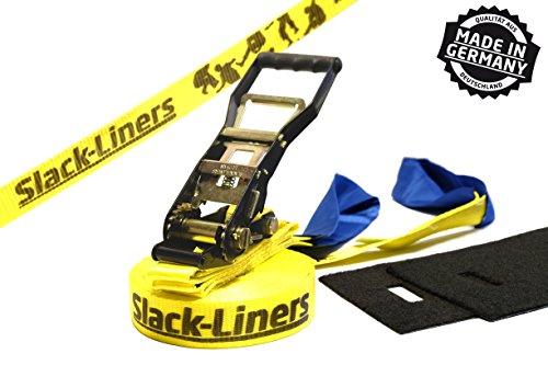 Slack-Liners 4 Teiliges Slackline-Set GELB - 50mm breit, 25m lang - mit Langhebelratsche Made in Germany