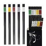 Annvchi EssStäbchen 10 Paar - Japanische Chopsticks Schwarz Stäbchen für