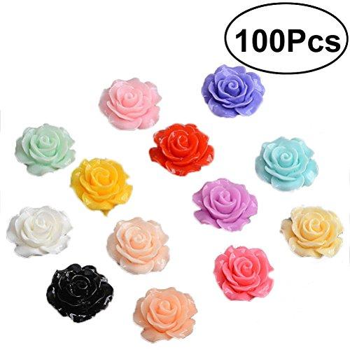 Healifty 18mm rosa in resina fiori perline Flatback DIY Crat scrapbooking ornamento 100pcs (colori assortiti)