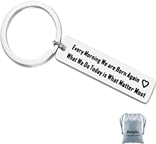 Spiritual Keychain Every Morning We are Born Again keychain Quote Jewelry Yoga Gift Stainless Steel Motivational Wisdom Yo...