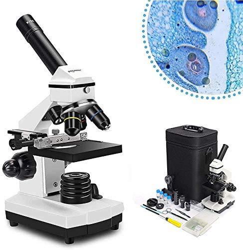 Solomark Microscopio, 20x-1280x Conjunto de microscopio Compuesto biológico monocular Profesional, Control coaxial de Enfoque Fino y Grueso, con Adaptador para teléfono y portaobjetos de microscopio
