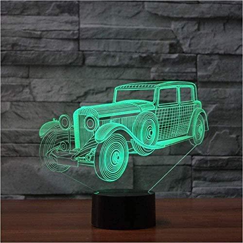 3D noche luz 16 color atmósfera LED vintage clásico coche forma escritorio lámpara niños regalos USB bebé sueño decoración iluminación