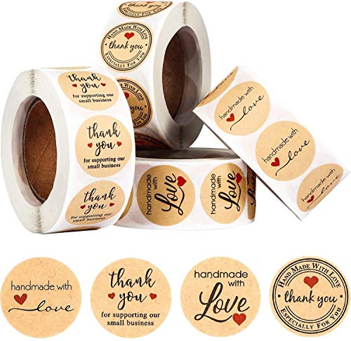 2000 Pieces Handmade with Love Stickers Roll Thank You Label Stickers Label Kraft Round Adhesive Stickers 4 Rolls, 500 Labels Per Roll for Present Bags Wedding Thanksgiving, 1 Inch