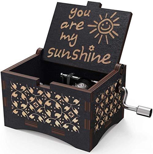 Freudlich 《You Are My Sunshine》 Cajas de música de Madera, Caja Musical de Madera Vintage grabada con láser Regalos para cumpleaños/Navidad/día de San Valentín (Black)