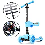 i-Glide Toddler Scooter - 3 Wheel Scooter for Kids - Kids Scooter with Warranty - Scooter for Girls & Boys - Adjustable Handlebar - Wide Deck - Lean 2 Steer - (Blue - with Seat)