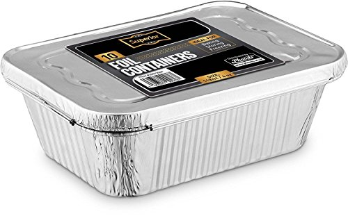 Recipientes desechables de aluminio con tapa de aluminio de 2400 ml Ideales...