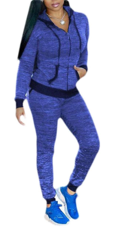 歩く診断する過去レディースカジュアルジョガーズ衣装スウェットスーツフルジップジャケット+スウェットパンツ2ピーストラックスーツ