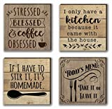 Farmhouse Refrigerator Magnets | 4 Rustic Design Farm Theme Funny Magnet Set | for Fridge, Dishwasher, Magnetic Kitchen Whiteboard