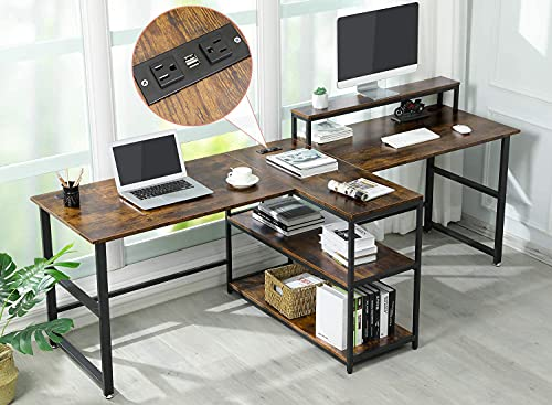 Sedeta 94.5'' Two Person Desk with Monitor Stand, Power Strip with USB, Double Computer Desk with Storage Shelves, Extra Long Workstation Desk for Home Office, (Rustic Brown, 94.5x23.6 in)