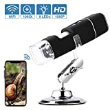 Microscopio Digital WiFi HD 2MP, 1000x Microscopio Inalámbrico 1080P HD con Zoom, Recargable, 8 LED, USB 2.0, Soporte de Metal, Microscopio Endoscopio Camara para iPhone iOS Android iPad Windows Mac
