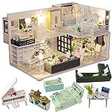 CuteBee DIY木製ドールハウス、Happy Time、手作りキットセット、ミニチュアコレクション、LEDライト(電池AAA*2必要)、オルゴール、 ショーケース付き (M21)