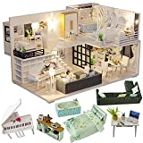 CUTEBEE Dollhouse Miniature with Furniture, DIY Dollhouse Kit Plus Dust Proof and Music Movement, 1:24 Scale Creative Room for Valentine's Day Gift Idea M21