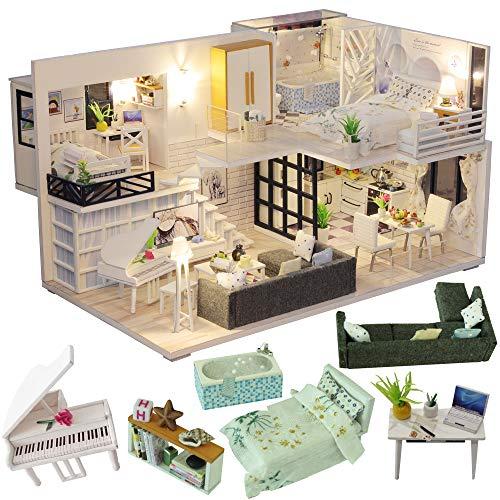 CUTEBEE Miniatura de la casa de muñecas con Muebles, Equipo de casa de muñecas de Madera DIY, más Resistente al Polvo y el Movimiento de música(Happy Time)