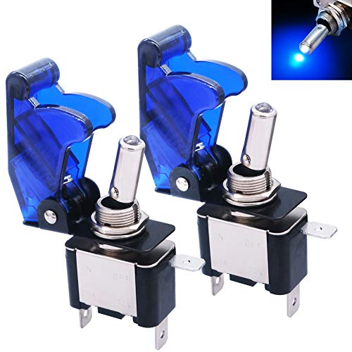 mxuteuk 2pcs Rocker Lighted Toggle Switch, 12V 20A Blue LED Light Up Heavy Duty Toggle Switch with Blue Waterproof Cover SPST ON/Off 3Pin for Car Truck Boat ASW-07D-BU-BUMZ