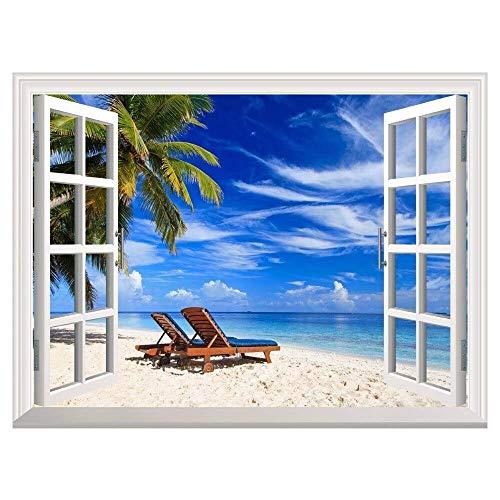 Efecto 3D Vista de ventana Pegatinas de pared Playa tropical con sillas y calcomanías de vinilo de palma Decoración Mural Paisaje Arte Decoración para el hogar 70x100cm