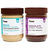 Soom Foods Pure Ground Sesame Tahini Paste Two Flavor Sampler: (1) Single-Source Sesame Tahini 11oz...