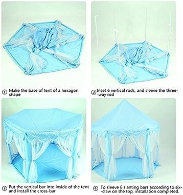Miyaya Princess Fairy Tale Castle Play Tent,Portable Fun Perfect Hexagon Playhouse Toys with LED Lights(X-Large,Blue)