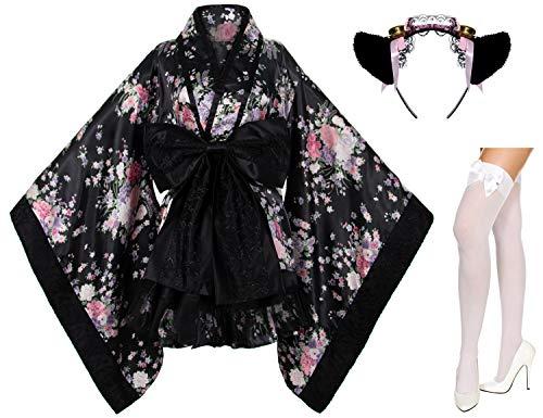 Japanese Anime Lolita Cherry Sakura Flower Printing Kimono Costumes Fancy Dress Maid cat Headband Socks Set(DHF004) Black L