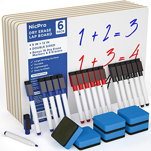 Nicpro 6 Pack Dry Erase Lapboard Set Small Kid Whiteboard 9 x 12 inches Double Sided with 18 Water-Based Pens and 6 Erasers Learning Mini Bulk White Board for Student and Classroom Use