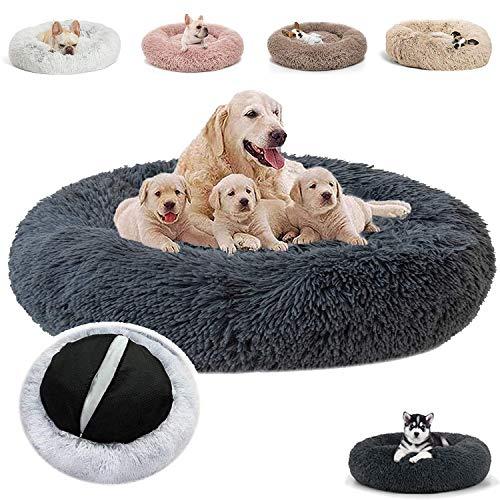 JRUI Hundebett Flauschig für Große Hunde, Rund Plüsch Hundekissen Katzenbett Waschbar, Hundesofa Hundekörbchen für Mittelgroße Hunde - Grau 120x120x20cm