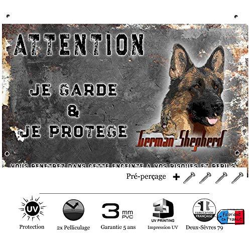 Pets-Easy.com Attention au Chien German Shepherd - pré percée et vis proposées. De 30 cm à 15 cm…