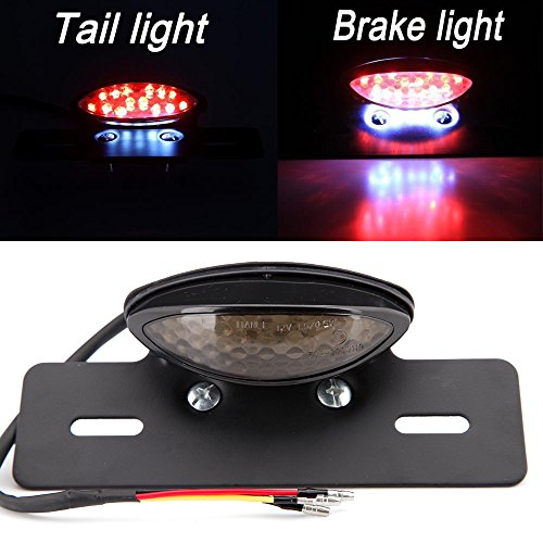 19 LED Motorrad Rücklicht Integriertes Nummernschild Bremsleuchte hinten für Racer Bobber Street Bike, Roller, Cruiser, Chopper Dirt Bike ATV