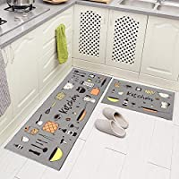 2-Pieces Carvapet Non-Slip Backing Kitchen Rug