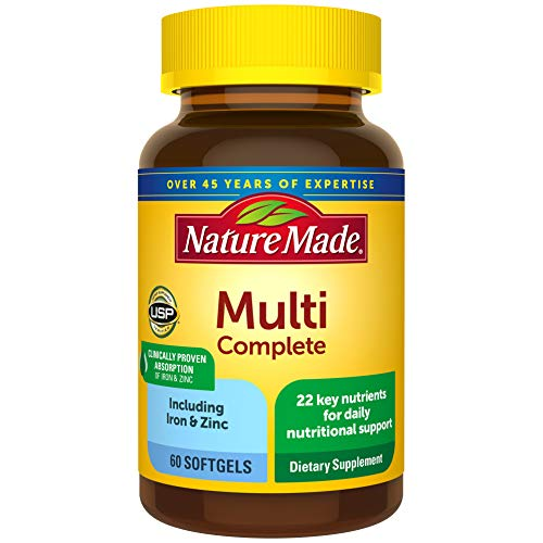 Nature Made Multivitamin Complete Softgels with Vitamin D3 and Iron, 60 Count for Daily Nutritional Support