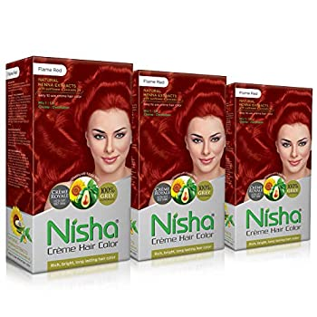 Nisha Creme Hair Color FLAME RED  60gm + 90ml + 18ml Nisha Conditioner with Natural Herbs