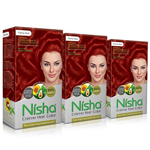 Nisha Creme Hair Color FLAME RED (60gm + 90ml + 18ml Nisha Conditioner with Natural Herbs)