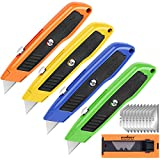 HORUSDY 4-Pack Box Cutter Utility Knife, SK5 Heavy Duty Aluminum Shell Retractable Box Cutter for Cardboard, Boxes and Cartons, Extra 10 Blades.