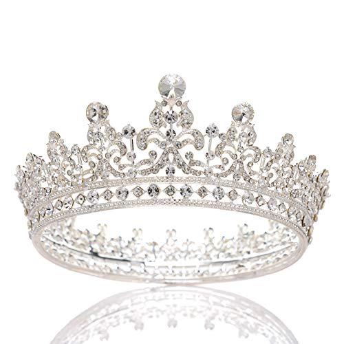 SWEETV Strass-Krone, Hochzeit, Königin-Krone für Frauen – Festzug, Braut-Diadem, Stirnband, Prinzessin-Krone, Haarschmuck für Braut