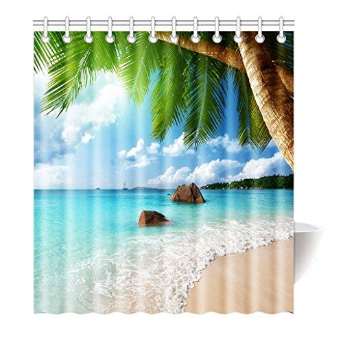Violetpos Duschvorhang Strand Palme Dekor Hochwertige Qualität Badezimmer 180 x 200 cm