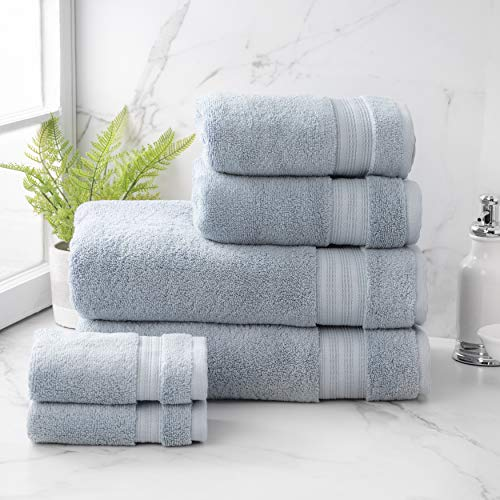 Welhome Cotton Rayon from Bamboo Bath Towel (Dusty Blue) -Set of 6 -Soft & Fluffy -Highly Absorbent -Fade Resistant - Durable - Machine Washable - 2 Bath - 2 Hand - 2 Wash Towels