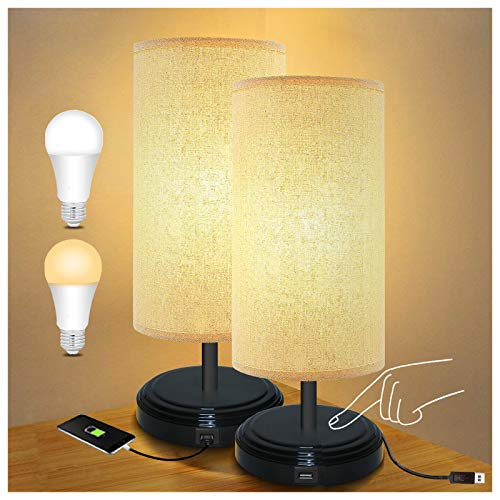 Touch Control Dimmable Nightstand Lamp, BRTLX LED Bedside Desk Lamp with USB Charging Port and Outlet, Table Lamp with Fabric Lamp Shade for Living Room Bedrooms Set of 2, 6W E26 Bulbs Included
