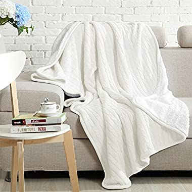 NTBAY All Seasons Collection Super Warm Cable Knit Throw Blanket (60 X 78 , White)