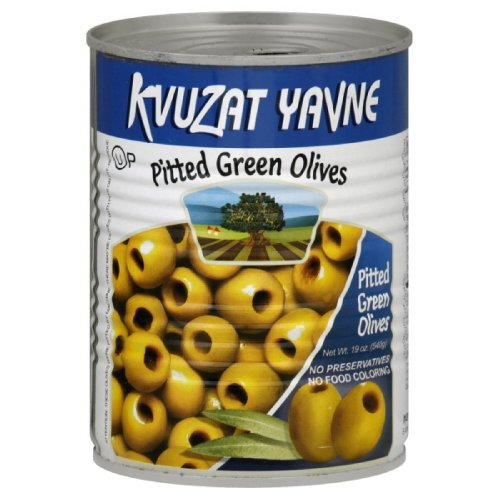 Kvuzat Yavne Olives Green Pitted, 19-Ounce (Pack of 6)