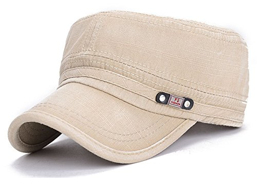 ChezAbbey Unisex Fitted Flat Top Cap Solid Brim Army Cadet Style Military Hat with Adjustable Strap Beige