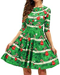 GLUDEAR Women's 3D Print Short Sleeve Unique Casual Flared Midi Ugly Christmas Sweater Dress