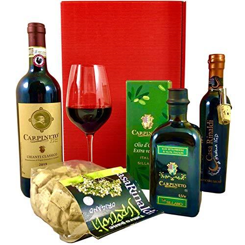 Geschenkset Siena | Italienischer Geschenkkorb gefüllt mit Rotwein & Olivenöl aus Italien | Präsentkorb mit Wein & Feinschmecker Spezialitäten aus der Toskana
