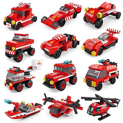 FUN LITTLE TOYS 222Pcs Fire Rescue Vehicles Building Blocks...