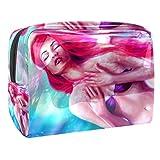 Bolsa de Maquillaje Hada de la Sirena de la fantasía Neceser de Cosméticos y Organizador de Baño Neceser de Viaje Bolsa de Lavar para Hombre y Mujer 18.5x7.5x13cm