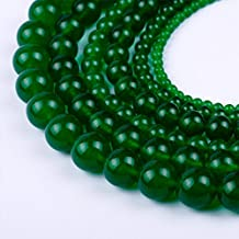 Natural Round Dark Green Jade Loose Stone Beads For Bracelet Necklace DIY Jewelry Making 4MM, 6MM, 8MM, 10MM, 12MM By Ruilong (6MM)