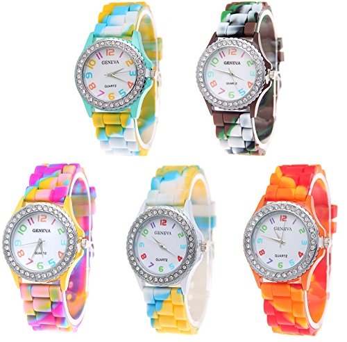 CdyBox 5 Pack Rhinestone Colorful Silicone Jelly Wristwatches for Women Girls Wholesale Watch Set