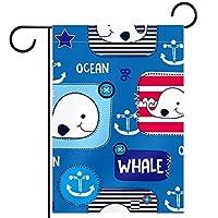 ガーデンフラッグ両面印刷防水クジラの海 庭、庭の屋外装飾用