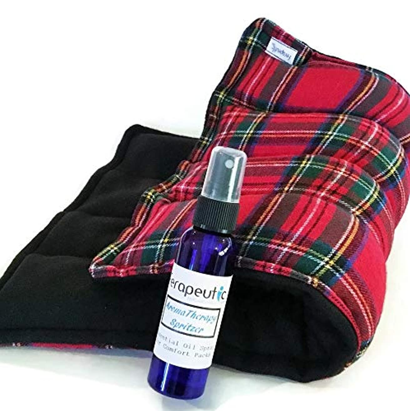 Large Heating Pad to Heat in Microwave, Filled with Flax Seed and Rice, Herbal Aromatherapy Lavender Peppermint or Eucalyptus Sinus Spray