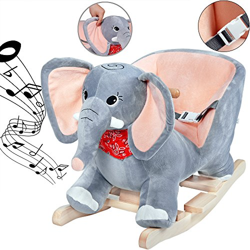 Deuba Schaukelelefant   Schaukeltier Plüsch Schaukel Wippe Pferd Einhorn Kinder Baby Spielzeug   Sound-Geräusche   inkl. Sicherheitsgurt   Balancetraining   besonders weich - 3