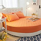 HPPSLT Protector de colchón/Cubre colchón Acolchado de Fibra antiácaros, Transpirable, Cama Redonda de algodón Color Liso Engrosamiento-Naranja 1_2m