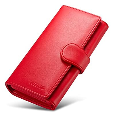 Weeno Womens RFID Blocking Wallet synthetic Leather Long Wallet Card Holder
